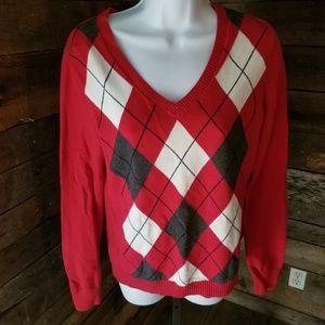 Izod Size Medium Red Diamond Pattern Sweater